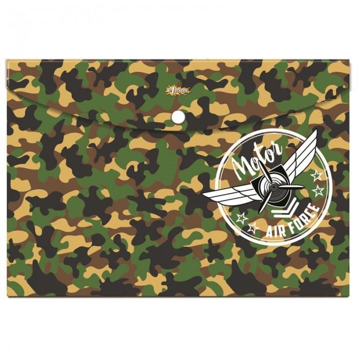 Канцелярия №1 School Папка конверт на кнопке А4 Military