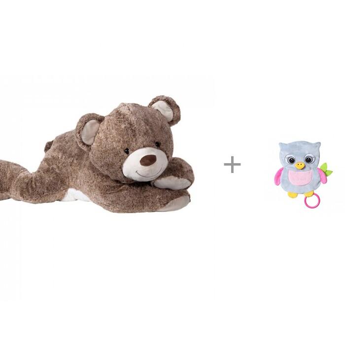 Купить Мягкие игрушки, Мягкая игрушка Molli Мишка лежачий 80 см и комфортер BabyOno Совенок Celeste