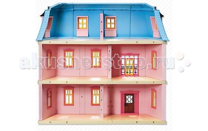 Конструктор Playmobil Романтический домРомантический домКонструктор Кукольный домик Playmobil Романтический дом выполнен в розовом цвете.  Дом трехэтажный, с балконом и цветочными горшками на подоконниках. Жить в таком доме одно удовольствие. Дверной звонок работает, в наборе есть почтовый ящик.    В комплекте:    дом  две фигурки  клумбы с цветами   Размер дома (ШхДхВ): 60 x 27 x 55 см  Для работы звонка требуются батарейки: 2 х 1,5-В-ААА<br>