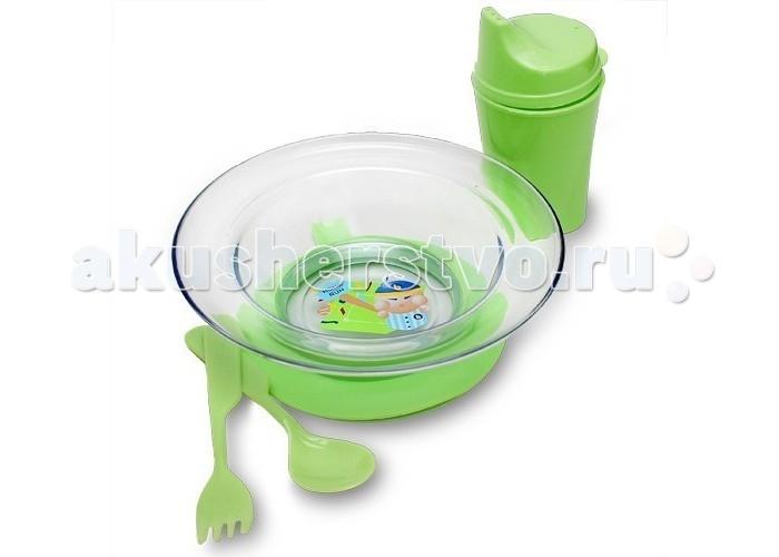 Посуда Бусинка Набор посуды: тарелочка на присоске, ложка, вилка, поильник кухонные девайсы patricia набор 6пр зеленый миска 2 шт поильник крышка ложка вилка