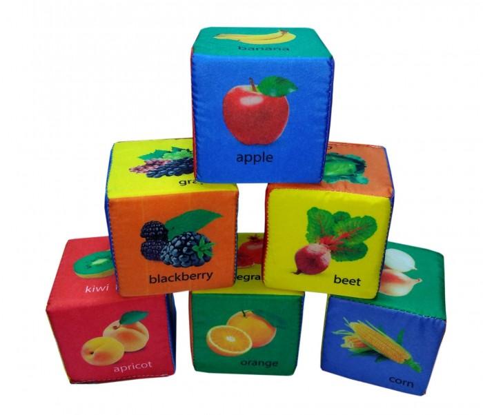 Картинка для Развивающие игрушки Учитель Набор кубиков Фрукты овощи и ягоды по-английски 6 шт.
