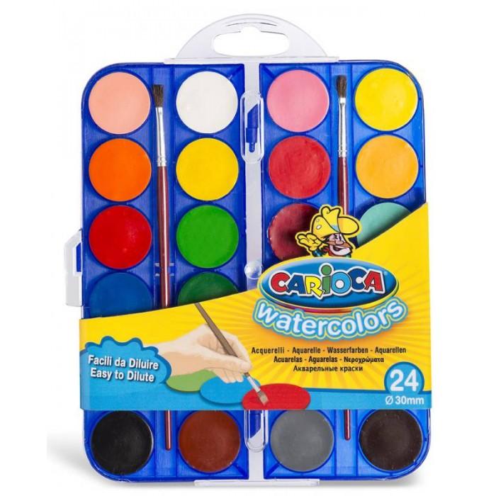 Фото - Краски Carioca Краски акварельные с кистью 24 цвета краски акварельные carioca 42401 24цв 30мм кисть пл кор 6 шт кор