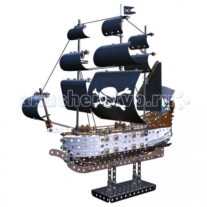 Конструктор Meccano Пиратский корабль (630 деталей)Пиратский корабль (630 деталей)Конструктор Meccano Пиратский корабль (630 деталей) вы можете собрать модель трехмачтового пиратского корабля с черными парусами. Корпус судна собирается из металлических полос, соединяемых при помощи болтов, мачтами служат металлические стержни, а парусами - гибкие пластины из темной пластмассы.  Корабль ставится на металлических постамент, закрепляясь на двух сваях. Детали для конструирования модели выполнены в разных цветах, имитирующих дерево. Детали обшивки плотно прилегают друг к другу. Корабль оснащен тремя мачтами, такелаж и снасти прекрасно детализированы. Здесь же размещаются белоснежные паруса и небольшой пиратский флаг с Веселым Роджером.  В комплект входят инструменты - отвертка и гаечный ключ - необходимые для работы, а также набор наклеек с пиратской символикой - чтобы украсить паруса улыбающейся физиономией Веселого Роджера.   Конструкторы Meccano придумал в 1901 году Фрэнк Хорнби, инженер-самоучка из Ливерпуля. Его идея заключалась в том, чтобы познакомить детей с основами настоящей инженерии, не слишком усложняя процесс. Судя по тому, что эти конструкторы пользуются спросом более сотни лет спустя, задумка удалась.<br>