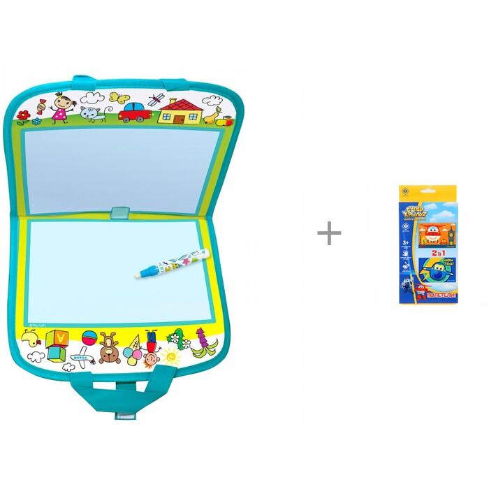 Раскраска Let's play Коврик-книжка для рисования водой и Аппликации фетром, Ева Super Wings Полетели