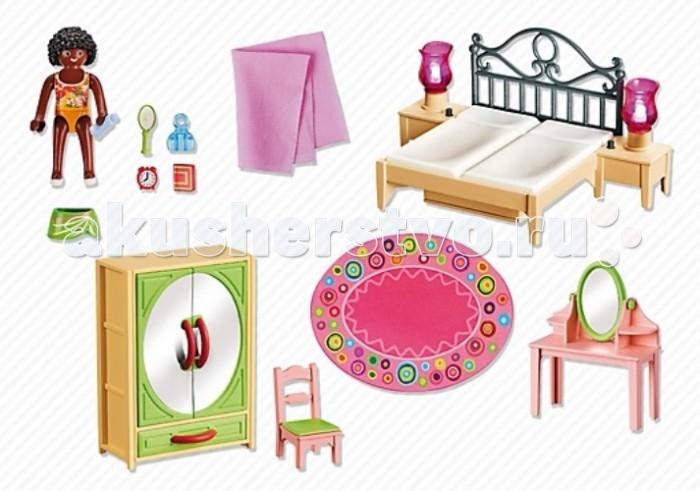 Конструктор Playmobil Спальная комната с туалетным столикомКонструкторы<br>Конструктор Кукольный домик Playmobil Спальная комната с туалетным столиком  Дополнение к набору кукольный дом.   Это небольшая уютная комната родителей, включающая в себя кровать, прикроватные тумбочки с лампами, стул, шкаф, трюмо и фигурку человечка.