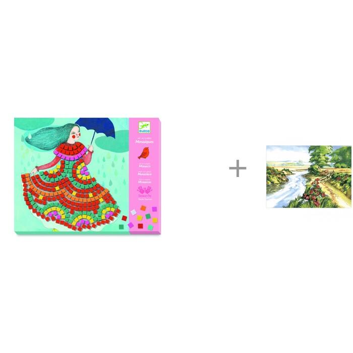 Картинка для Наборы для творчества Djeco Мозаика Платья и Картина по номерам Цветы у ручья