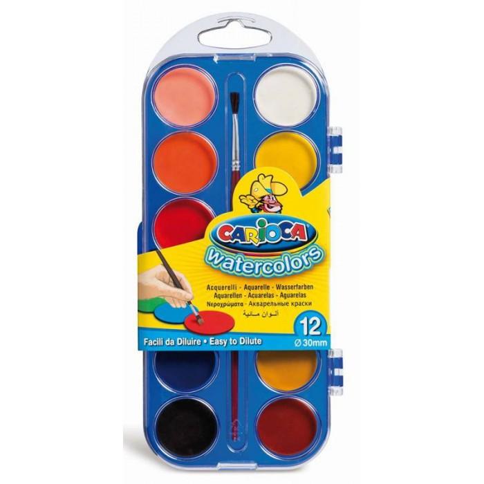 Фото - Краски Carioca Краски акварельные с кисточкой 12 цветов краски акварельные carioca 42401 24цв 30мм кисть пл кор 6 шт кор
