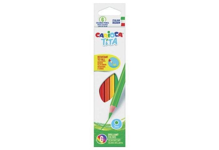 Карандаши, восковые мелки, пастель Carioca Карандаши цветные Mini Tita шестигранные 3 мм 6 цветов