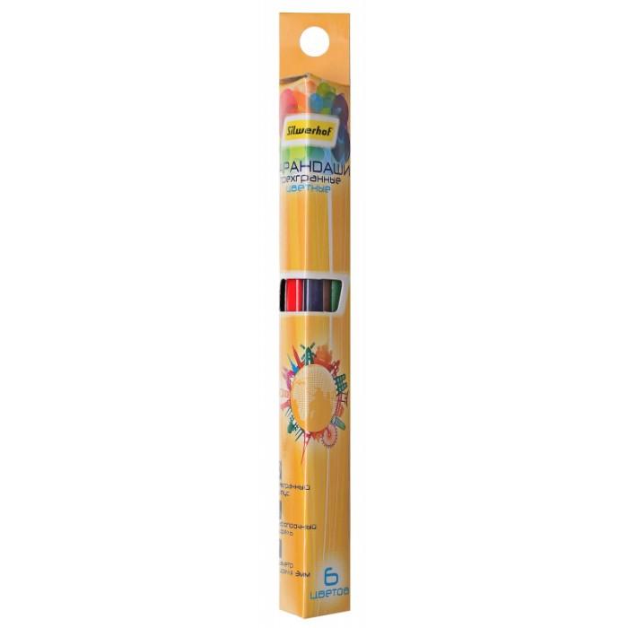 Карандаши, восковые мелки, пастель Silwerhof Цветные карандаши трехгранные Солнечная коллекция 3 мм 6 цветов