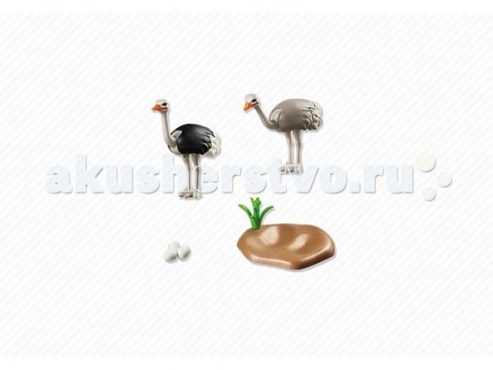 Конструкторы Playmobil Страусы с гнездом фигурки игрушки playmobil зоопарк стая фламинго