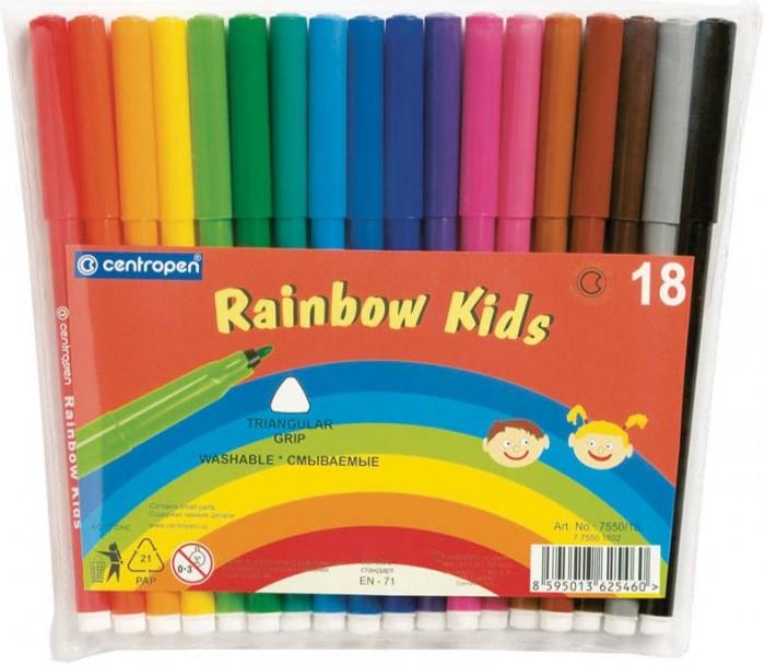 Фломастеры Centropen трехгранные смываемые Rainbow Kids 18 цветов