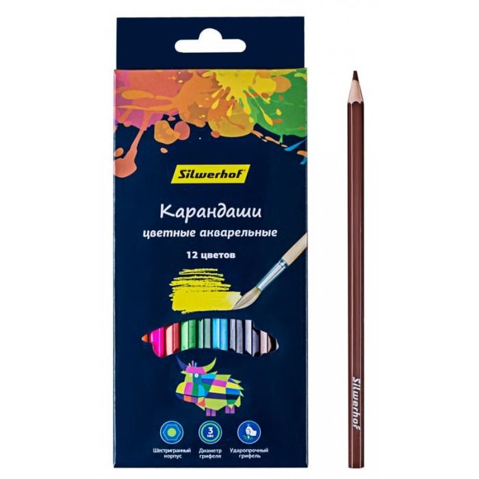 Карандаши, восковые мелки, пастель Silwerhof Цветные карандаши акварельные Цветландия 12 цветов
