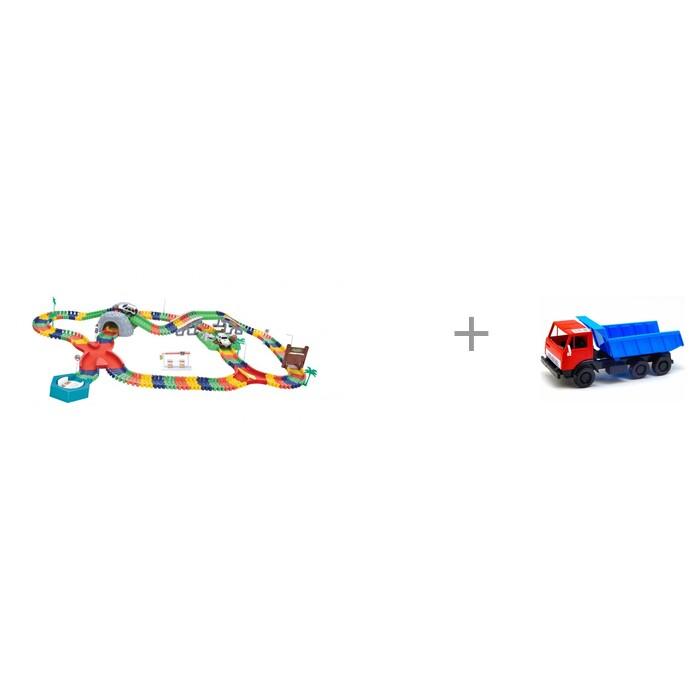 Фото - Машины 1 Toy Гибкий трек Большое путешествие 249 деталей и автомобиль Орион Самосвал Х1 машины 1 toy гибкий трек мегаполис 239 деталей