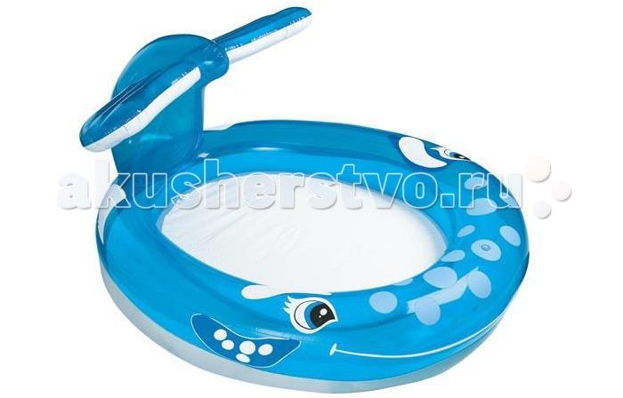 Бассейн Intex Веселый кит 208х163х99 смВеселый кит 208х163х99 смНадувной детский бассейн Кит от известного производителя Intex с широкими бортами и надувным полом обеспечит максимальный комфорт вашему ребенку, а навес в виде хвоста кита защитит детей от солнечных лучей.   Бассейн очень вместителен, так что в нем могут отдыхать не только дети, но и взрослые!   На веселой мордочке кита имеется распылитель, который при подключении к нему садового шланга сможет порадовать деток бьющим прохладным фонтанчиком.  Надувной пол и небольшая глубина (около 18 см) позволят искупаться в бассейне-ките даже малышам.   Размер: 208х163х99 см.  Вместимость бассейна: 210 л. (при 80% наполнении) Вес: 3.2 кг.<br>