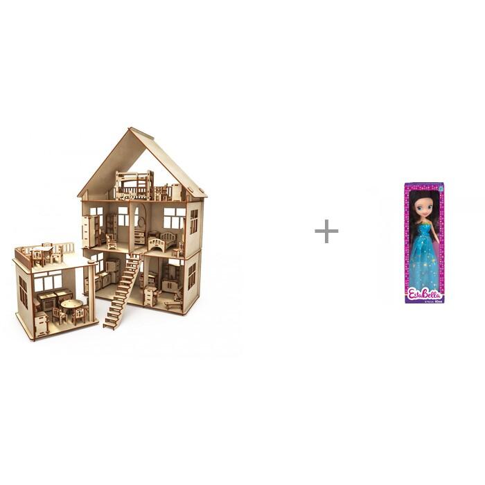 Кукольные домики и мебель ХэппиДом Коттедж с пристройкой и мебелью и кукла EstaBella Юлия 25 см