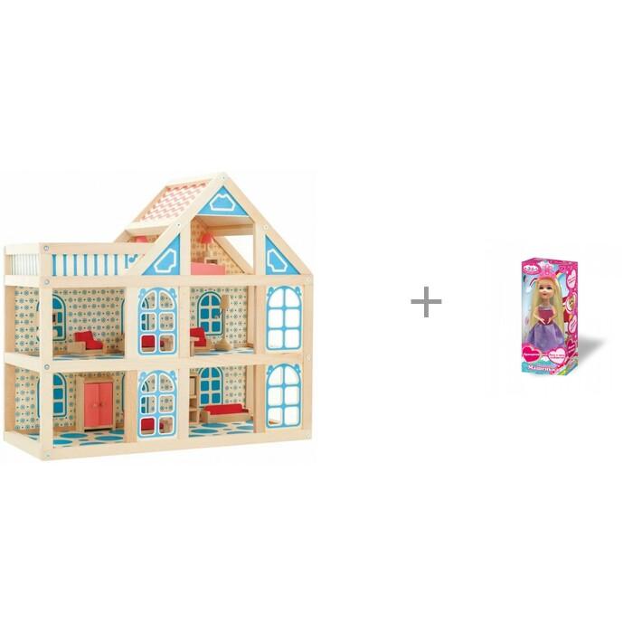 Мир деревянных игрушек Кукольный домик 3 этажа и кукла Карапуз Машенька принцесса в розовом платье 15 см от Мир деревянных игрушек