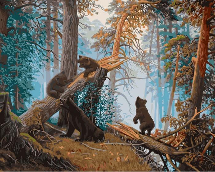 Фрея Набор для раскрашивания по номерам Утро в сосновом лесу 40х50 см