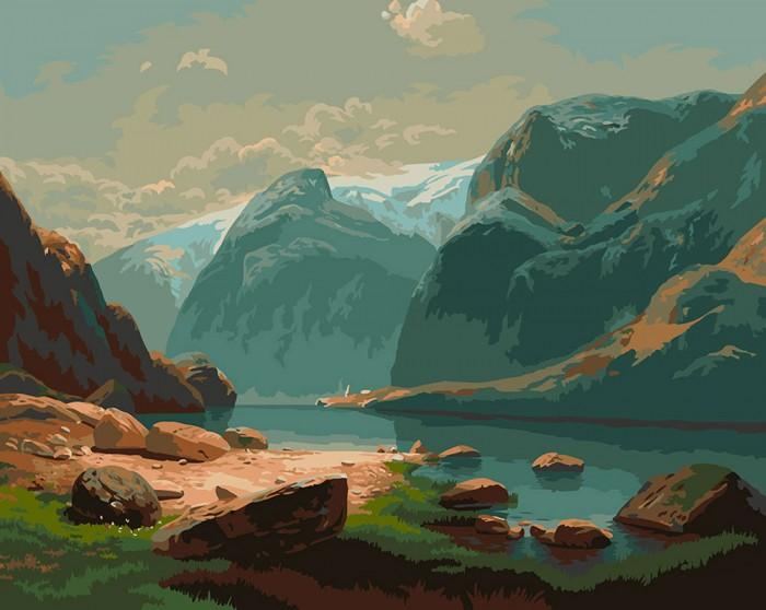 Фрея Набор для раскрашивания по номерам Озеро в горах Швейцарии 50х40 см