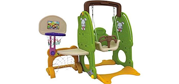 QiaoQiao Комплекс ЗайкаКомплекс ЗайкаQiao Qiao Комплекс Зайка с горкой, футбольными воротами, качелями и баскетбольным кольцом принесет смех и радость малышам. Как только ребенок научился уверенно ходить, он может развлекаться на этом игровом комплексе. Кто же из детей не любит кататься на качелях, бросать мяч в баскетбольную корзину, тем самым развивая ловкость и меткость.   Комплекс поможет детям развиваться физически, также малыш будет фантазировать. На этом комплексе малыш может играть сам или с родителями, а еще интереснее делать это с друзьями. Места хватит всем, а родители будут радоваться детскому веселому смеху.  Особенности : подходит для детей с 1 года под присмотром родителей сделан из высококачественного, прочного, безопасного для детей пластика все края игрового комплекса закруглены, малыш не поранится качели для малышей с защитным ограждением заинтересуют малыша с самого маленького возраста в баскетбольную корзину можно бросать мяч, тренируя меткость с раннего детства зоны игрового комплекса легко менять местами комплекс легко собирается и разбирается игровой комплекс можно устанавливать как дома, так и на улице игровой центр легко содержится в чистоте, его достаточно протирать влажной тканью  Размер: 160х120х120 см<br>
