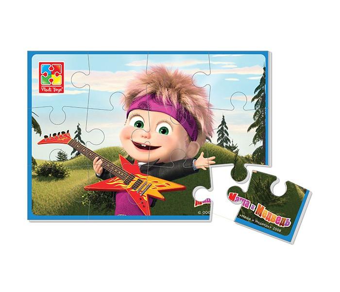 Пазлы Vladi toys Мягкие пазлы Маша и Медведь А5 Маша с гитарой 12 деталей vladi toys мягкие пазлы репка vladi toys