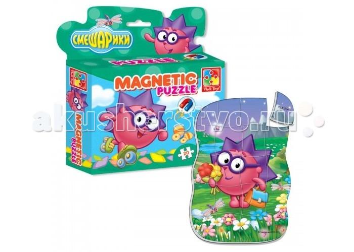 Пазлы Vladi toys Магнитные фигурные пазлы Смешарики Ёжик 20 деталей набор для творчества тм vladi раскраски глиттером сова