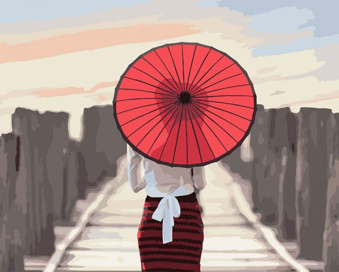 Фрея Набор для раскрашивания по номерам Японский зонтик 50х40 см