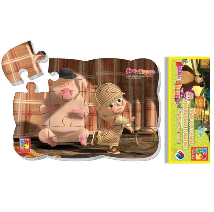 Пазлы Vladi toys Пазлы на магните Маша Шерлок Холмс 12 деталей пазлы crystal puzzle 3d головоломка вулкан 40 деталей