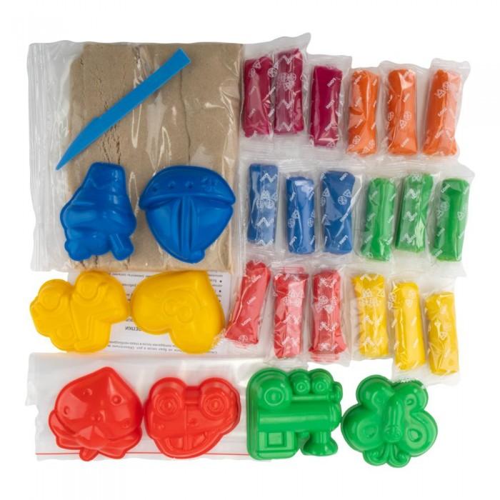 Тесто для лепки Lori Набор для творчества Радужный песок и тесто для лепки в сундучке кинетический песок lori набор для лепки радужный песок 6 цветов