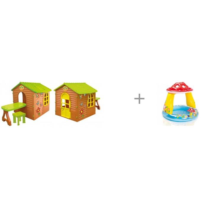 Купить Игровые домики, Mochtoys Игровой домик со столиком и стулом и бассейн Intex Мухомор 102х89 см