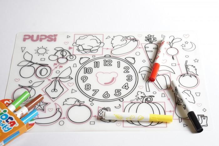 Купить Посуда, Pupsi Коврик-раскраска силиконовый для кормления и игр
