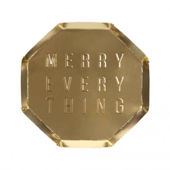 Купить Товары для праздника, MeriMeri Тарелки с надписью Merry Every Thing 125х125 мм