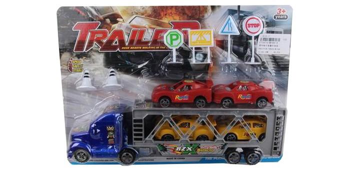 Машины Игротрейд Грузовик инерционный с прицепом с машинками и дорожными знаками yako заправка с машиной и дорожными знаками разноцветный