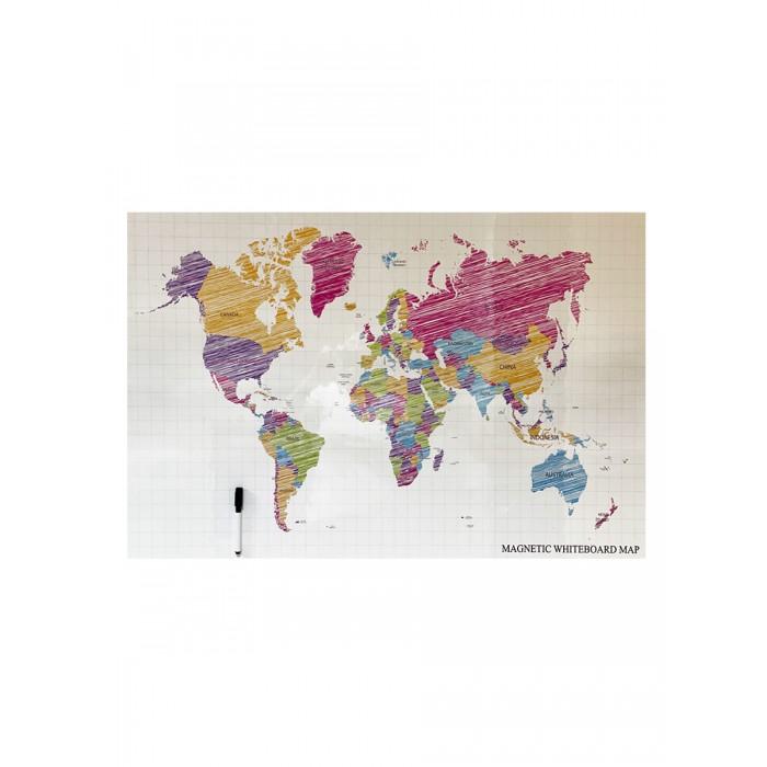 Доски и мольберты Continent Decor Магнитно-маркерная доска с изображением Карта мира