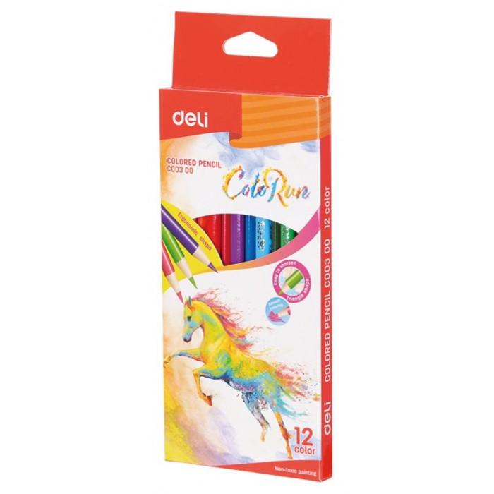 Картинка для Карандаши, восковые мелки, пастель Deli Карандаши цветные ColoRun трехгранные 12 цветов
