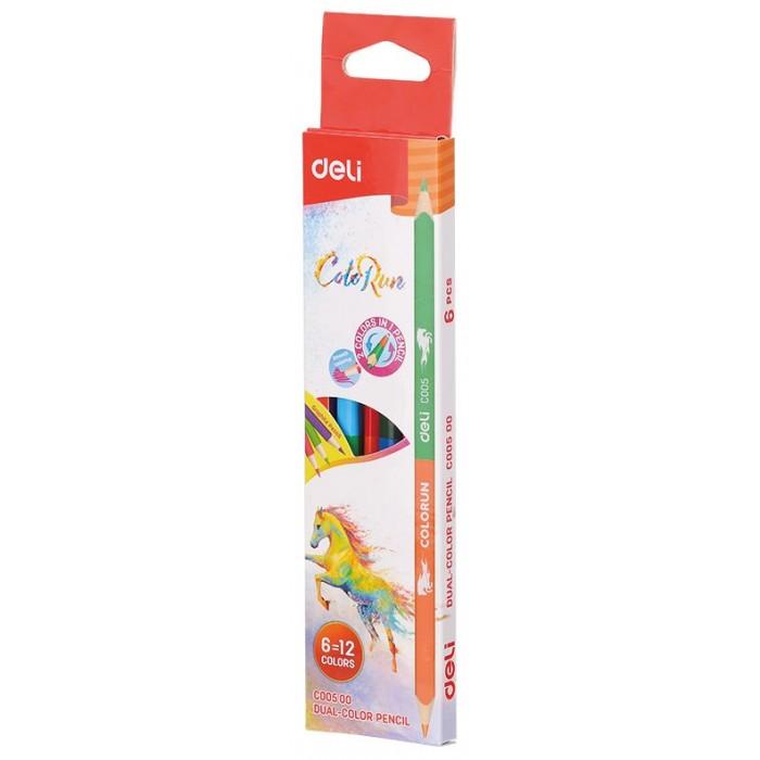 Картинка для Карандаши, восковые мелки, пастель Deli Карандаши цветные ColoRun 2-х сторонние 12 цветов 6 шт.