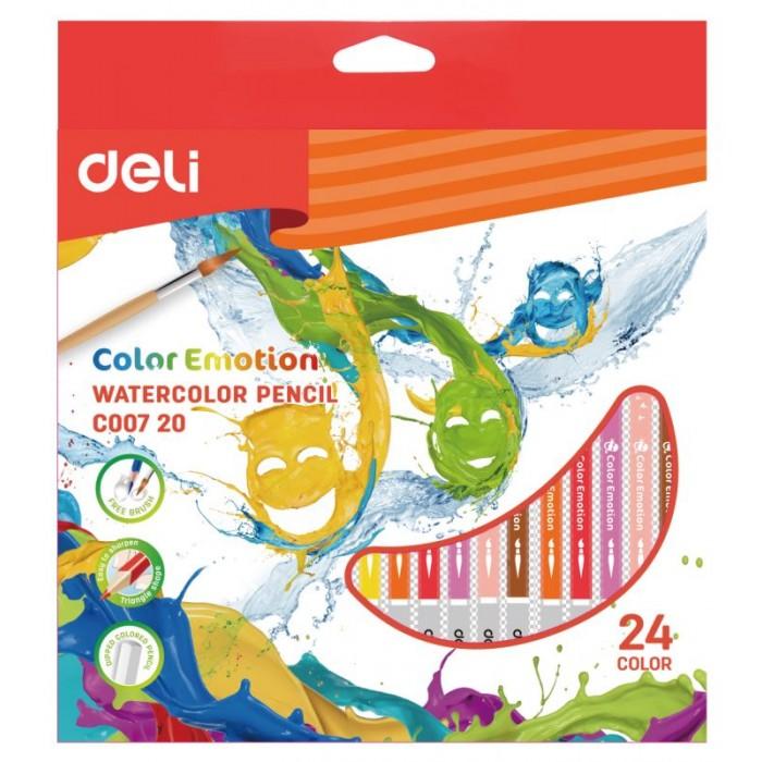 Карандаши, восковые мелки, пастель Deli Карандаши цветные акварельные ColoRun 24 цвета