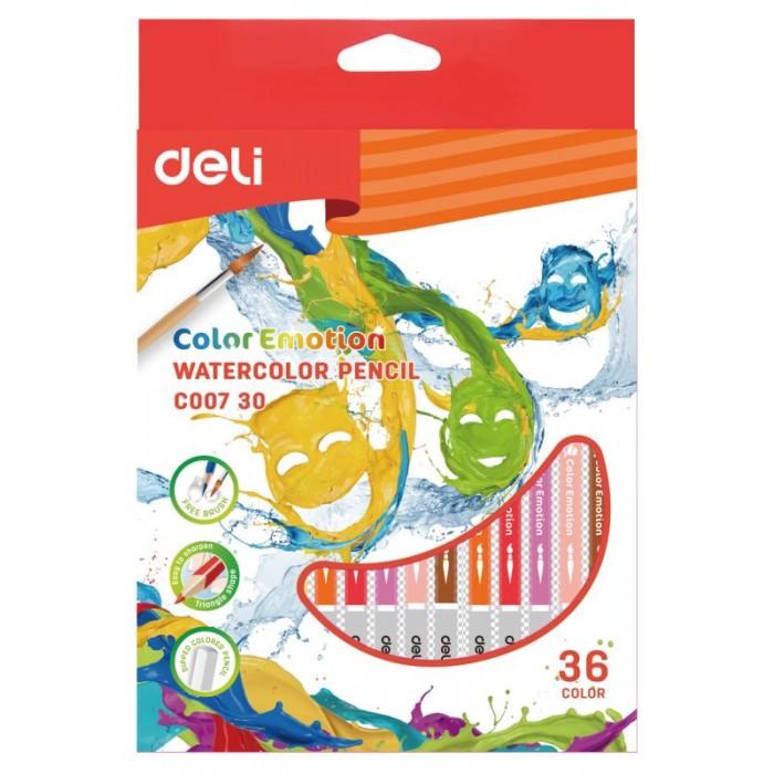 Карандаши, восковые мелки, пастель Deli Карандаши цветные акварельные ColoRun 36 цветов