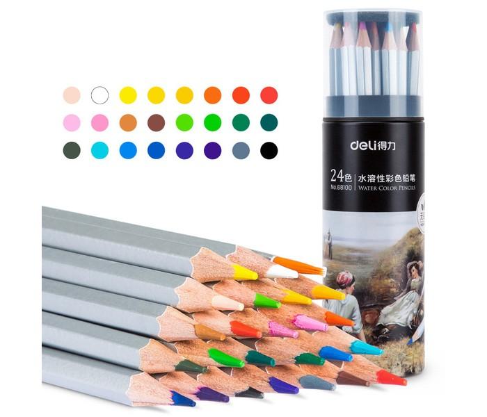 Карандаши, восковые мелки, пастель Deli Карандаши акварельные цветные в металлическом тубусе Nuevo 24 цвета