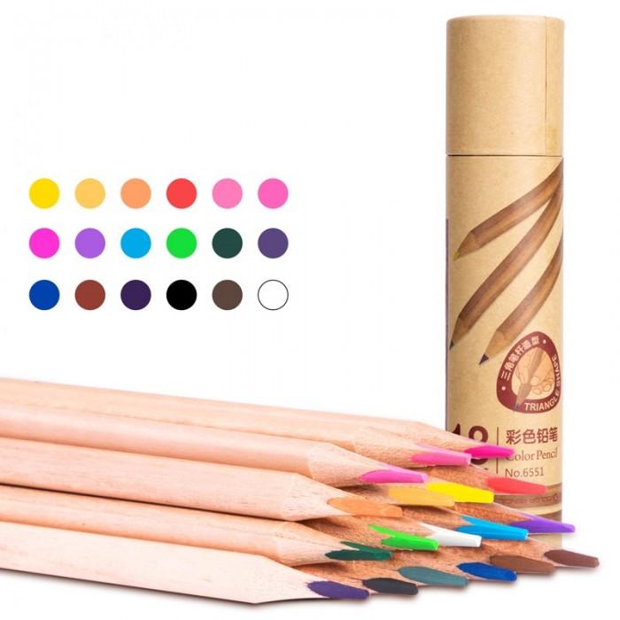 Карандаши, восковые мелки, пастель Deli Карандаши цветные трехгранные в картонном тубусе 18 цветов