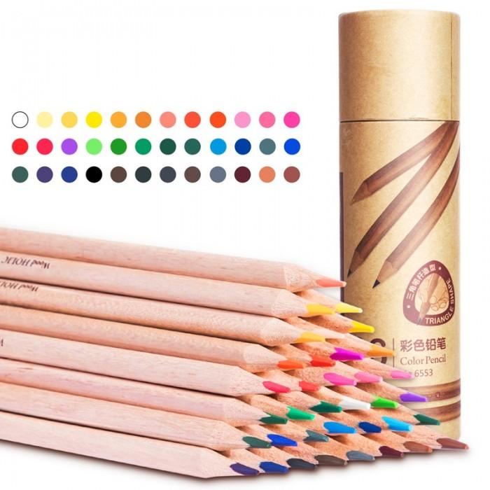 Карандаши, восковые мелки, пастель Deli Карандаши цветные трехгранные в картонном тубусе 36 цветов