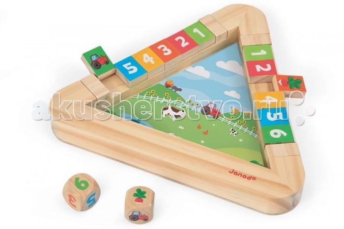 Деревянная игрушка Janod Настольная игра с кубиками ОгородНастольная игра с кубиками ОгородНастольная игра с кубиками Огород предназначена для детей от 3 лет.  Большая и яркая деревянная игра на запоминание.  В комплект входит треугольное игровое поле с 12 крышками, 1 кость с цифрами и 1 кость с картинками.  Правила игры (всего 3 варианта) каждый из игроков выбирает свою дорожку с крышками на треугольнике.  1. Игра с иллюстрированной костью. Откройте крышки и начните игру. Каждый из игроков по очереди выбрасывает кость и закрывает крышки. Например, если на кости выпала картинка с изображением «кошки», то игрок закрывает крышку с аналогичным изображением. Побеждает тот, кто первым закроет все картинки.  2. Игра с пронумерованной костью. Закройте все крышки. Игроки по очереди выбрасывают кость и открывают крышки. Например, если выпала кость с цифрой 5, то игрок открывает или крышку с номером 5 или несколько крышек с суммой чисел равных пяти 1+4, 2+3. Побеждает тот игрок, который открыл все свои крышки раньше.  3. Игра с обеими костями. Откройте крышки. Кости бросают по очереди. Например, если во время хода на одной кости выпало изображение кошки, а на другой цифра «2», то игрок закрывает крышку кошки и открывает крышку с цифрой 2 (если она была к тому времени закрыта). Игрок, который первым закроет свои крышки, объявляется победителем. Третий тип игры может длиться очень долго.  Если перед вами стоит задача выбрать подарок, рекомендуем обратить свое внимание на представленную игру. Это многофункциональный, полезный и универсальный подарок как для мальчика, так и для девочки старше 3 лет.   Он будет интересен на протяжении долгого времени.  Игрушка легкая и компактная, удобная для игры с детьми в путешествии.  Особености игры: - возраст игроков от 3 лет - количество участников от 2 человека - деревянная игра размером 25 х 22 х 2,7 см - 3 варианта игры; - 12 крышек и 2 игровые кости; - приятные на ощупь поверхности.<br>