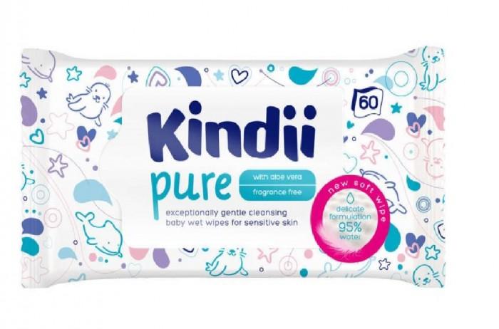 Салфетки Kindii Влажные салфетки для детей и младенцев Pure 60 шт. влажные салфетки ponky baby 120 шт
