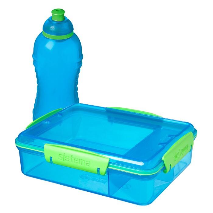 Картинка для Контейнеры для еды Sistema Набор контейнер с разделителями 975 мл и бутылка 330 мл