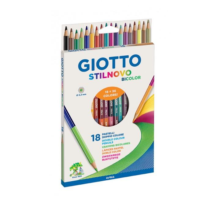 Карандаши, восковые мелки, пастель Giotto Stilnovo Bicolor Ast гексагональные 18 шт. 36 цветов giotto stilnovo цветные гексагональные 24 цвета