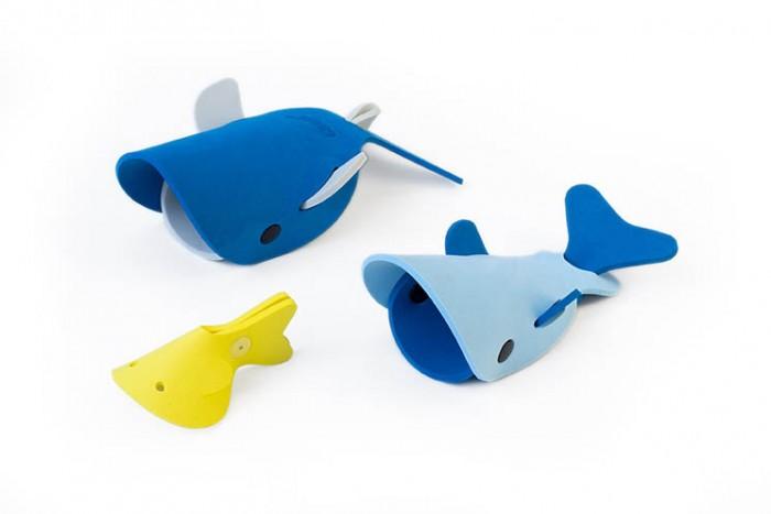 Картинка для Игрушки для ванны Quut Мягкий 3D конструктор для игры в ванне Глубоководные киты (3 элемента)