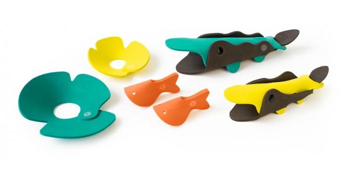 Картинка для Игрушки для ванны Quut Мягкий 3D конструктор для игры в ванне Река с крокодилами (6 элементов)