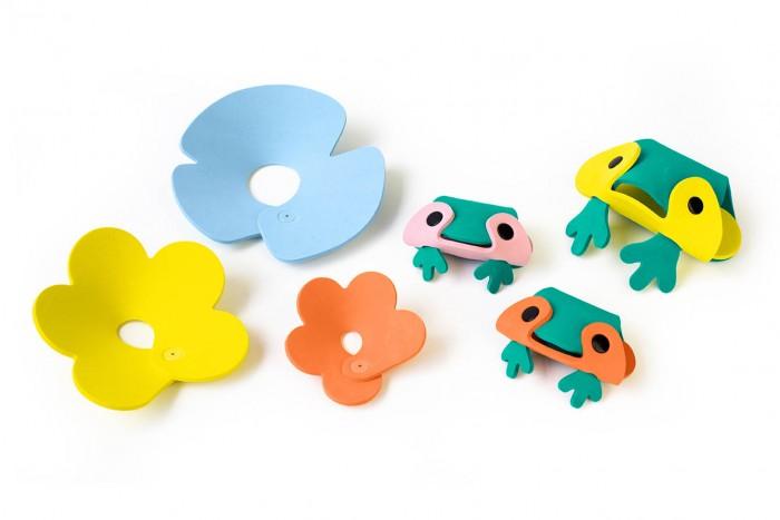 Картинка для Игрушки для ванны Quut Мягкий 3D конструктор для игры в ванне Пруд с лягушками (6 элементов)