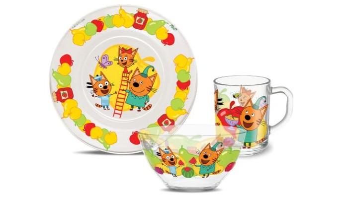 Купить Посуда, PrioritY Набор детской посуды Три кота Фрукты (стекло)