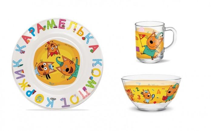 Купить Посуда, PrioritY Набор детской посуды Три кота Цифры и Буквы (стекло)