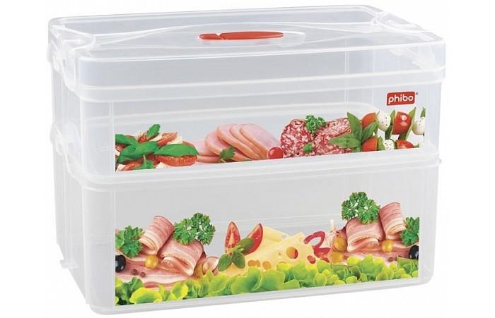 Картинка для Контейнеры для еды Phibo Контейнер с клапаном и декором Smart system 2 секции 2 л и 3 л